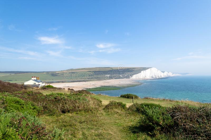 Seven Sisters by the English Channel, England stock images