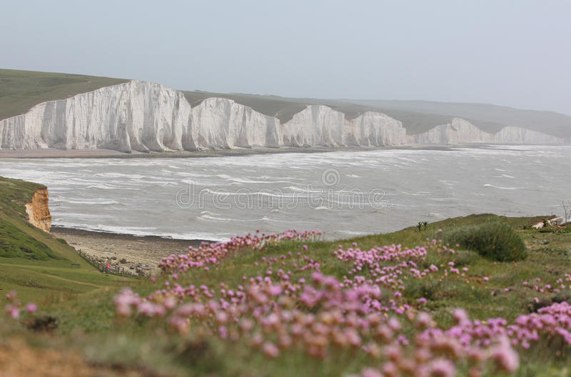 The Seven Sisters, Sussex. View of the Seven Sisters limestone cliffs, East Sussex, England stock images