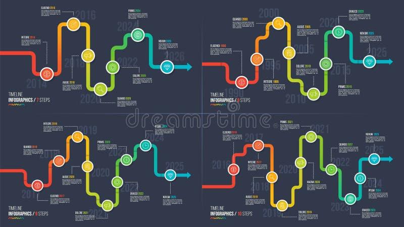 Seven-ten kliver infographic diagram för timeline eller för milstolpe stock illustrationer