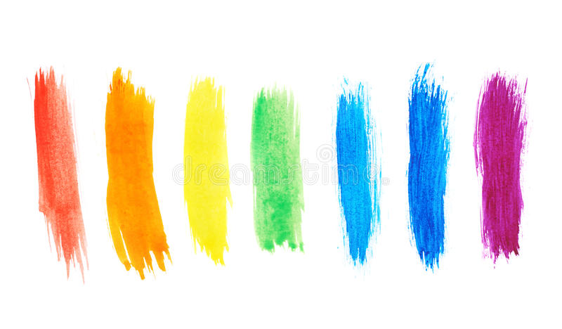 Seven watercolor paint strokes stock images