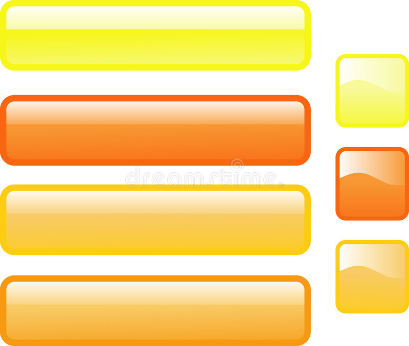 Seven Web Buttons In Sunny Colors Royalty Free Stock Image