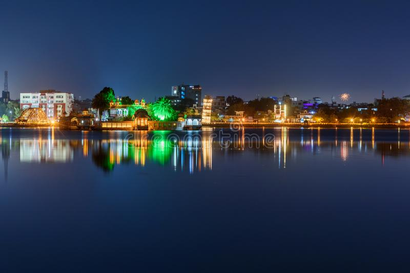 Seven Wonders Park on Kishore Sagar lake at night. Kota. India. Seven Wonders Park on Kishore Sagar lake at night. Kota. Rajasthan. India royalty free stock images