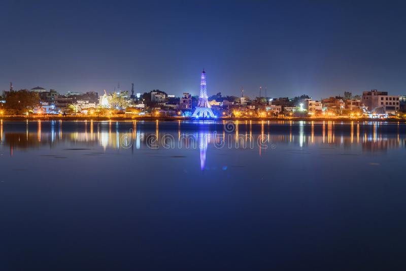 Seven Wonders Park on Kishore Sagar lake at night. Kota. India. Seven Wonders Park on Kishore Sagar lake at night. Kota. Rajasthan. India stock photo