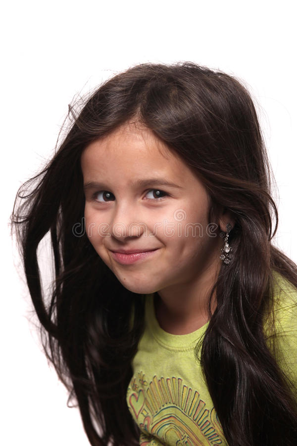 Seven year old brunette girl royalty free stock images