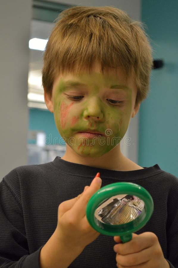 Download Boy painting Zombie face stock image. Image of inside - 104143229
