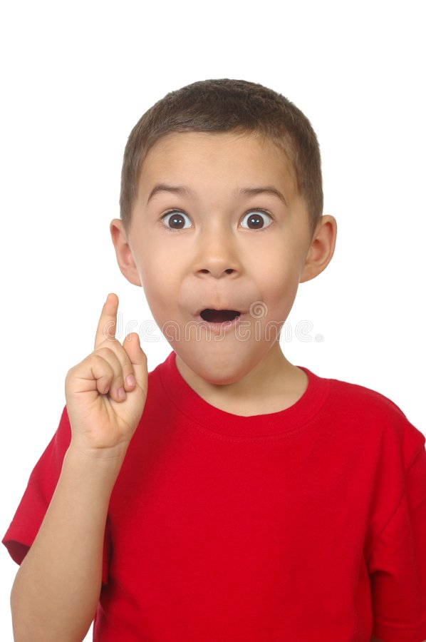 Seven year old saying ah-ha royalty free stock images