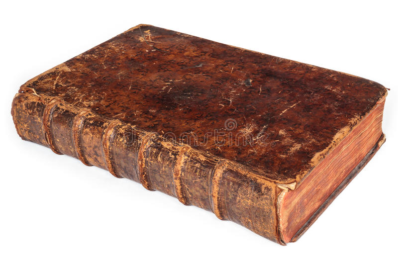 Seventeenth century antique book isolated on white royalty free stock images