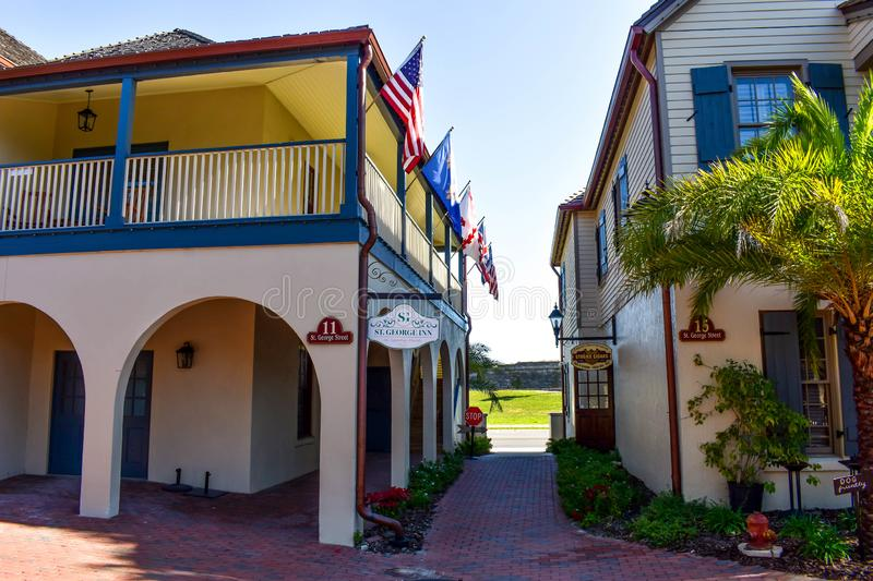 Seventeenth century mansions in St. George St. at Old Town in Florida`s Historic Coast 4 stock images