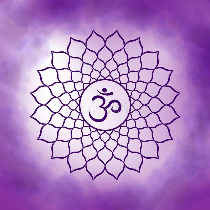 Seventh, crown chakra - Sahasrara. Illustration of one of the seven chakras. The symbol of Hinduism, Buddhism. Violet watercolor fog on background stock illustration