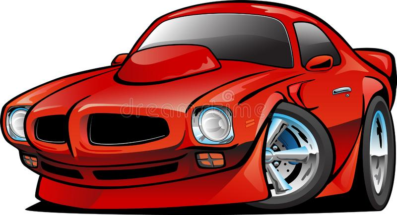 Seventies American Classic Muscle Car Cartoon Isolated Vector Illustration royalty free stock photos