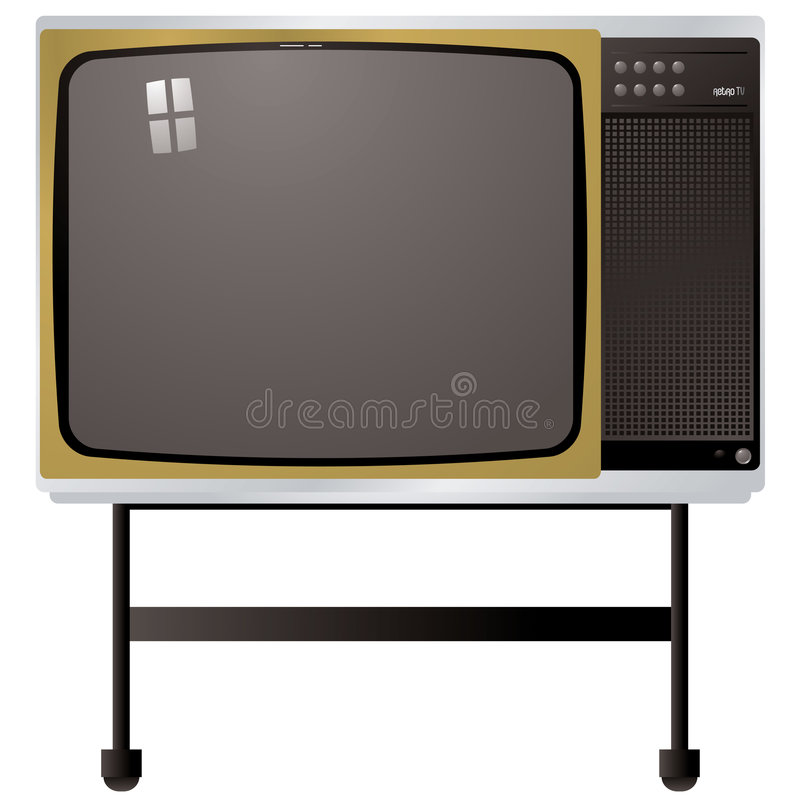 Seventies tv. Illustration of a tv from the seventies with metal stand vector illustration