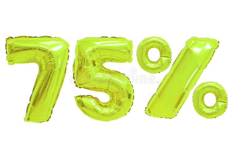 Seventy five percent from balloons lime color royalty free stock photography