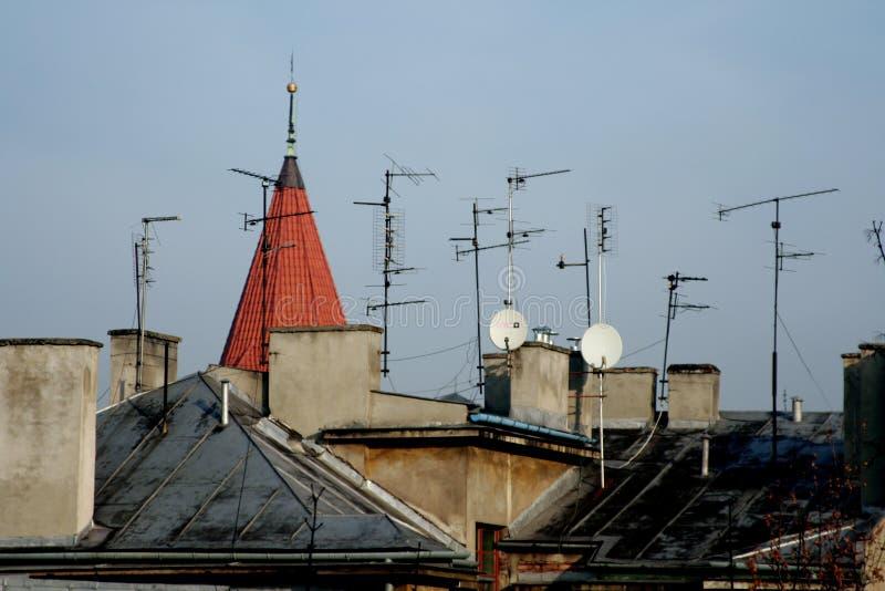 Several antennas stock image