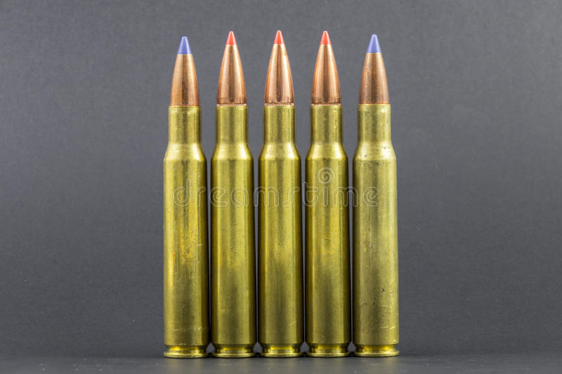 Several Ballistic Tip Rifle Rounds. In a row royalty free stock photos