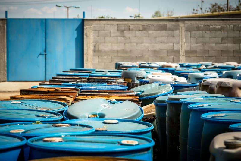 Several barrels of toxic stock images