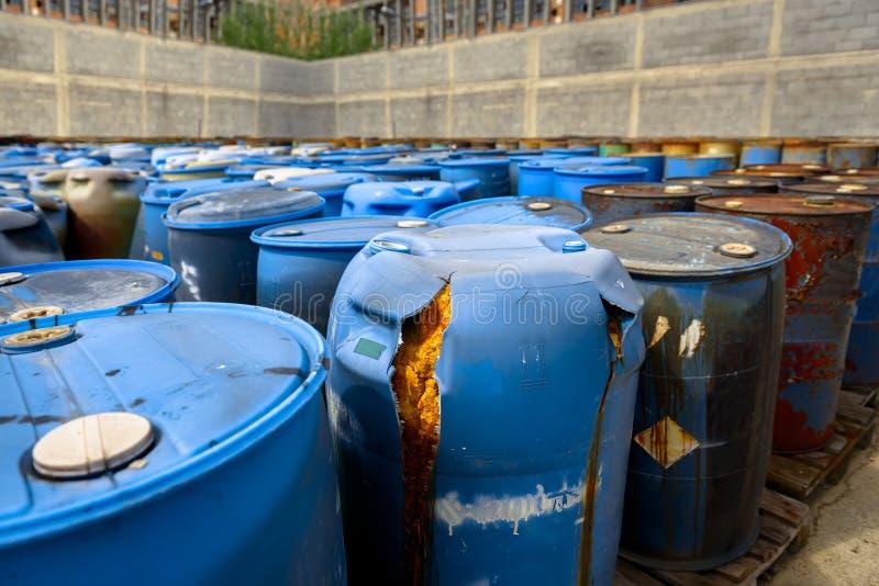 Several barrels of toxic waste. At the dump royalty free stock photos