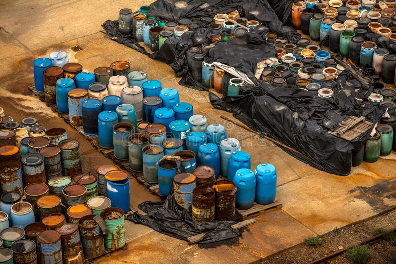 Several barrels of toxic waste. At the dump royalty free stock images