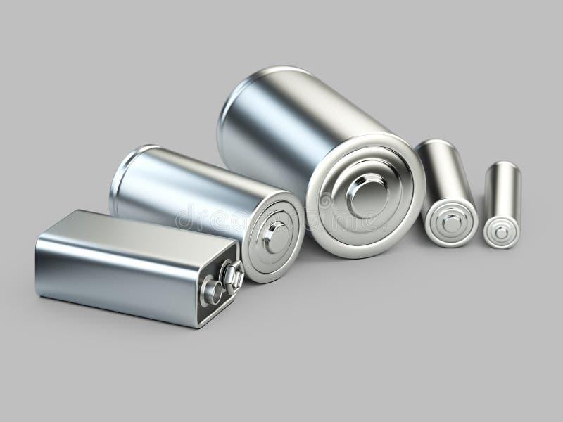 Several batteries closeup view stock illustration