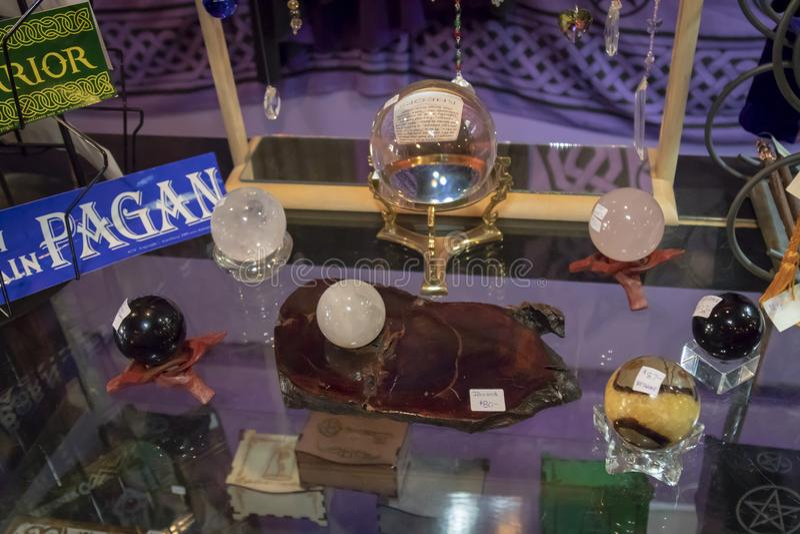 Several Beautiful Healing Crystal Balls on Display stock photography