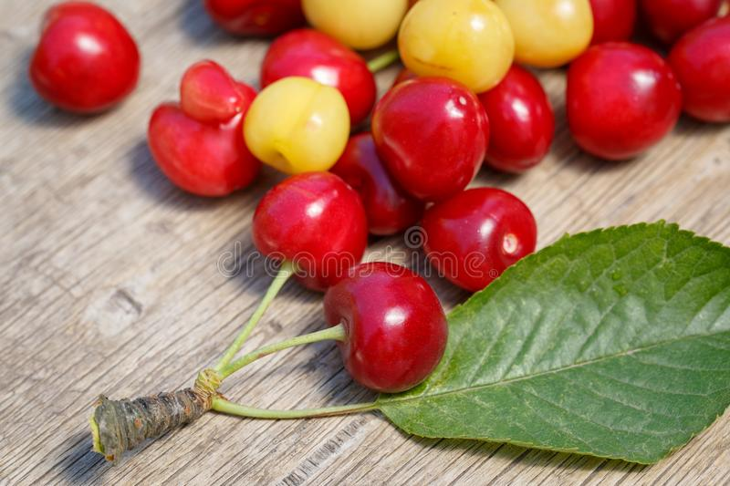 Several berries of red and white cherry with leaves scattered on a wooden surface.  stock photo