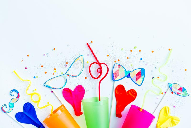 Birthday party things. Several birthday party things on a table royalty free stock images