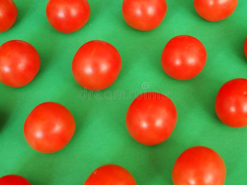 Several bright red cherry tomatoes on a green background royalty free stock image