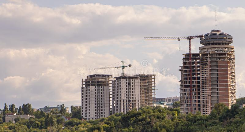 Several buildings under construction. Future apartments. Copy Space. Several buildings under construction. Future apartments Copy Space, outdoors, technology royalty free stock photography