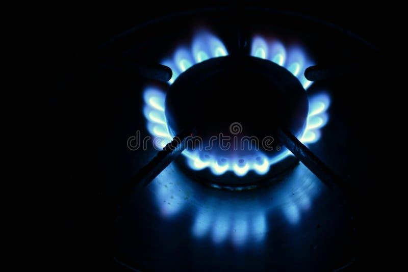 Fuegos encendidos de una hornilla de gas. Several burners lit in the dark with flame of a butane gas burner royalty free stock photo