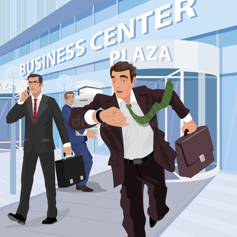 Busy businessmen near of business center. Several busy businessmen in business suits near of business center are engaged in different affairs. The busiest time vector illustration