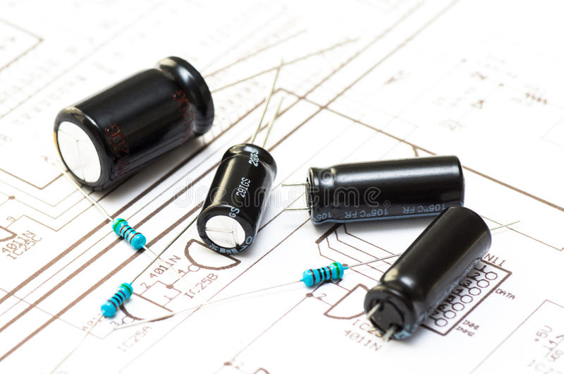 Several capicitors and resistors royalty free stock image