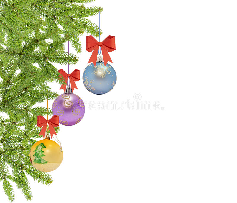 Several christmas decorative ball with bow and pine tree royalty free stock photos