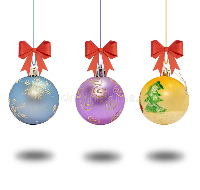 Several christmas decorative ball with bow on white background stock photography
