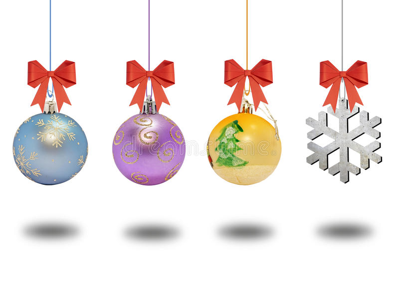 Several christmas decorative ball with bow on white background stock photo