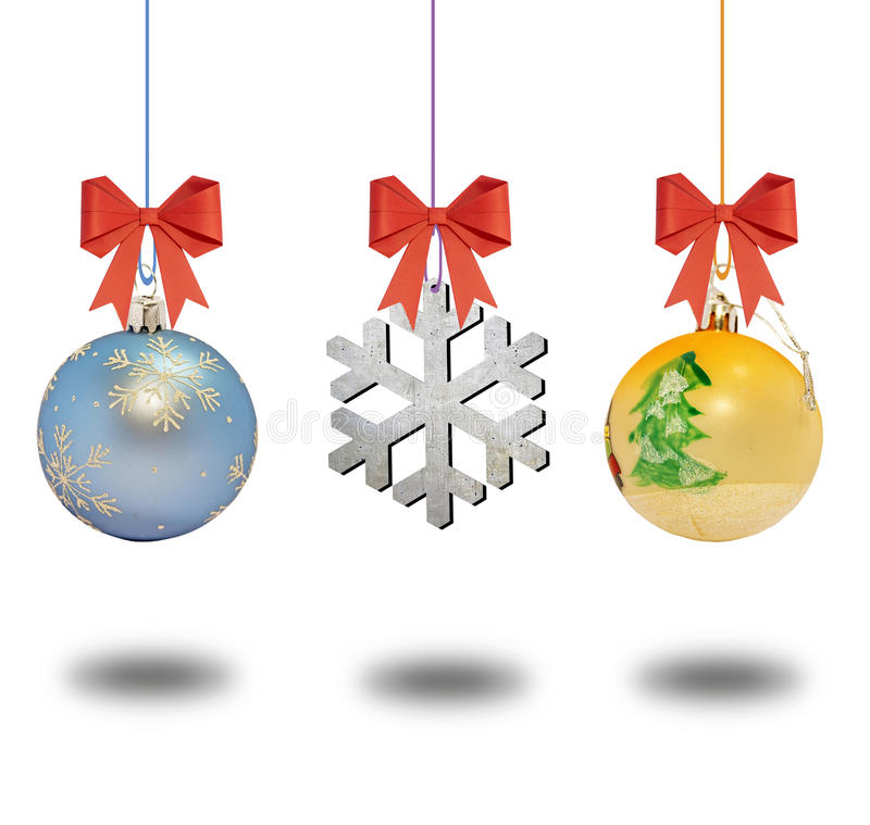 Several christmas decorative ball with bow on white background royalty free stock photo