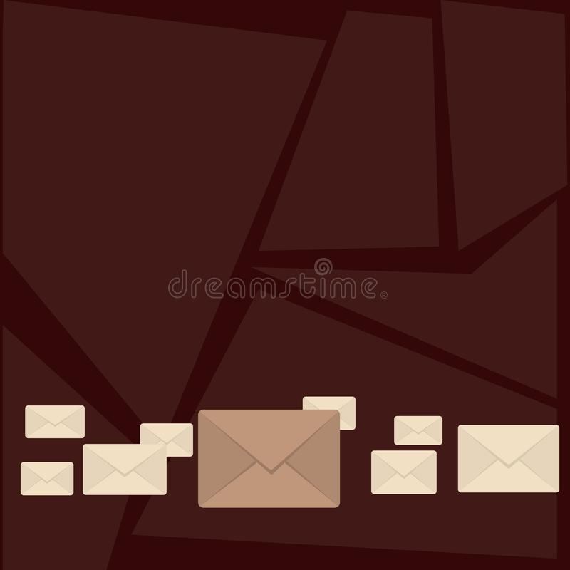 Several Closed Color Envelopes with Big One in Middle. Letter Casing in Pastel and Different Sizes Lining Up. Creative royalty free illustration