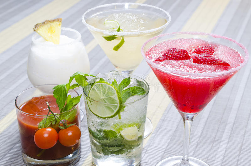 Several coctails served on table royalty free stock images