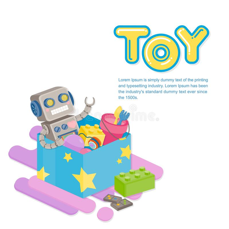 Several colorful toy in blue box on white background. Toy template. Several colorful toy in blue box on white background stock illustration