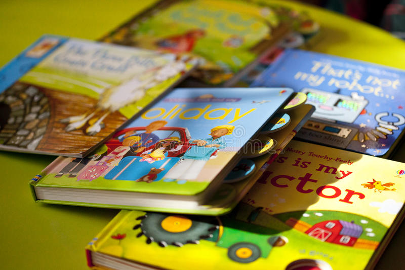 Several colorful books for children royalty free stock images