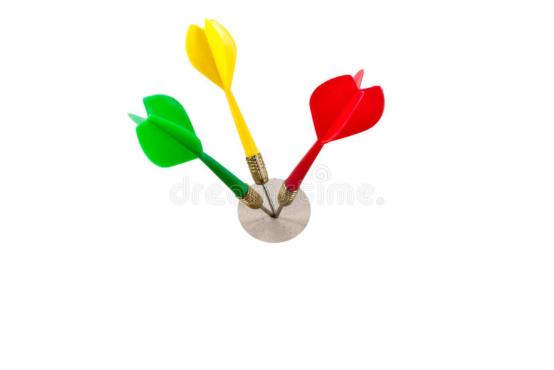 Several darts hit on target. Several darts hit the target. The image for business idea stock photo