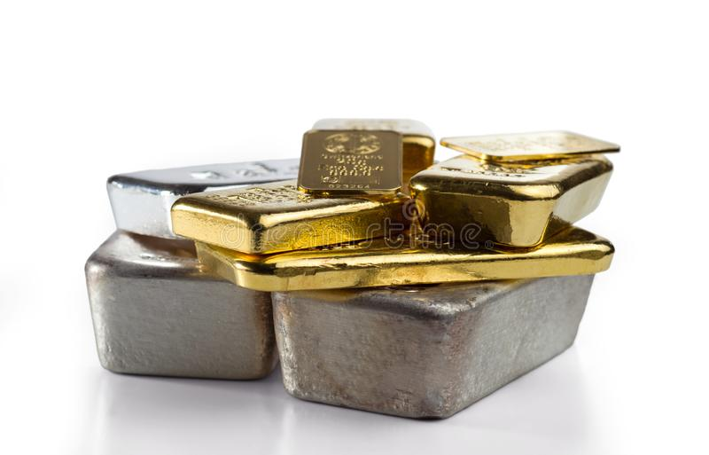 Several different gold and silver bullion. royalty free stock images