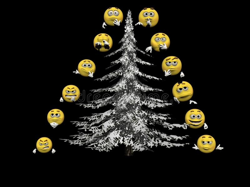 Several emoticon and a Christmas tree - 3d render royalty free illustration