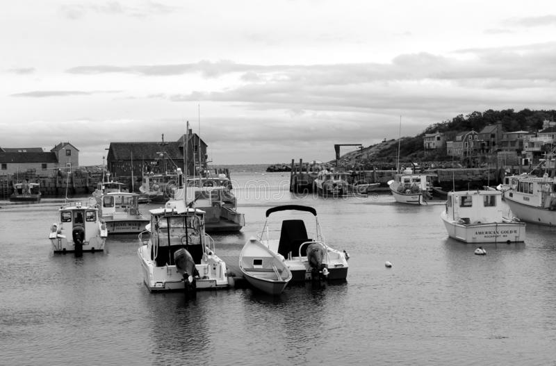 Black and white image of fishing and pleasure boats out on the water, Rockport, Mass, 2018 royalty free stock photography