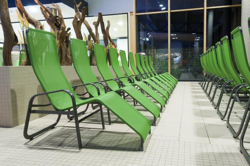 Several Green Swimming Bath Sun Lounger Royalty Free Stock Image