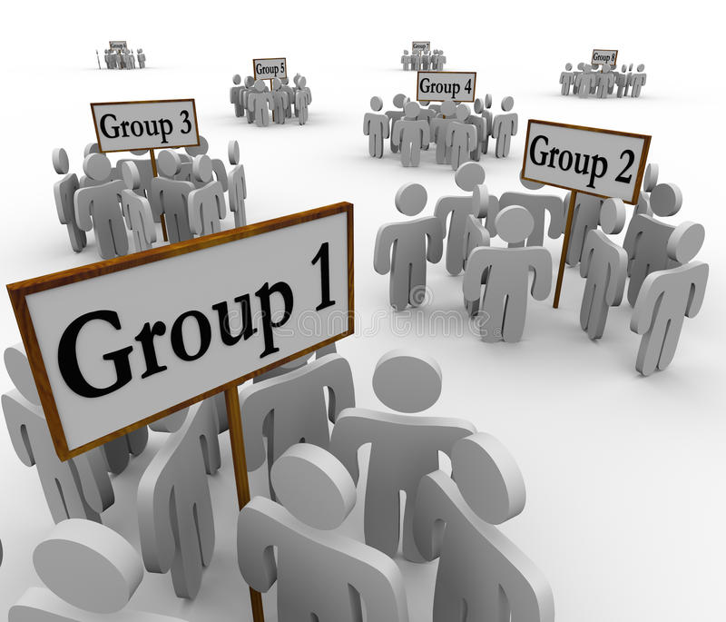 Several Groups People Gathered Around Signs stock illustration