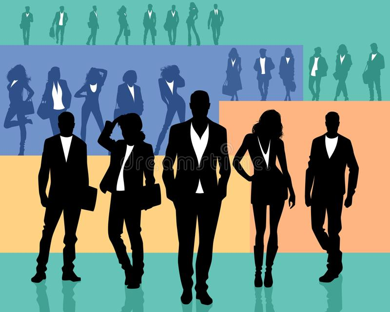 Several groups of people vector illustration