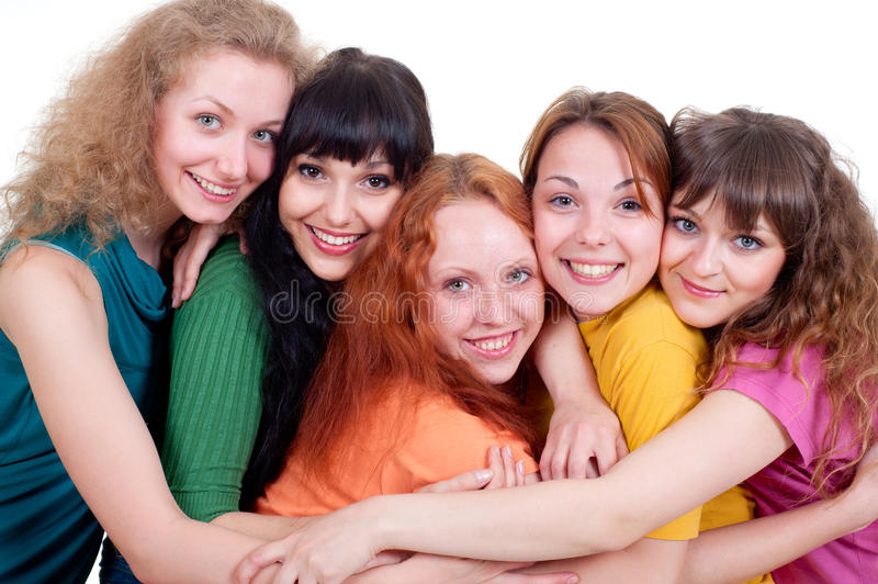 Download Several happy young women stock image. Image of company - 14347997