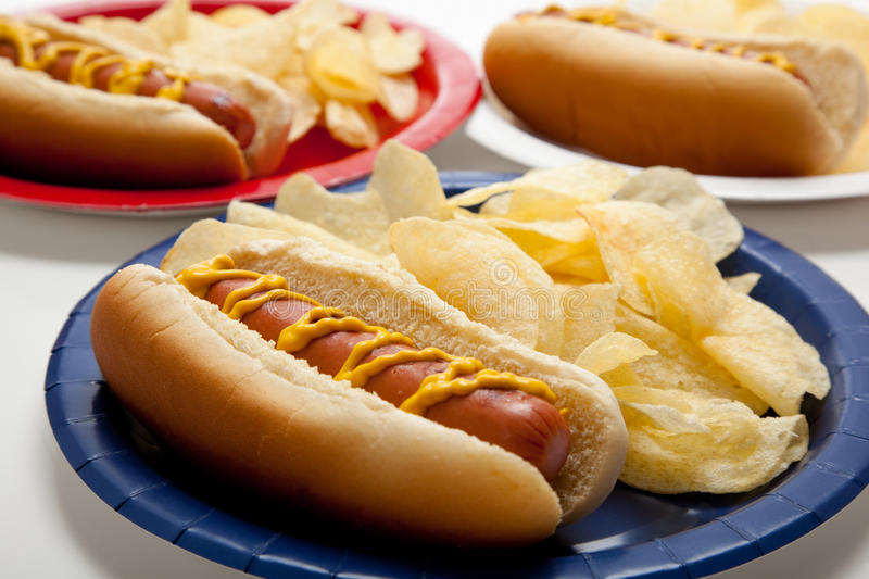Download Several Hotdogs On Colored Plates Stock Photo - Image: 11945416