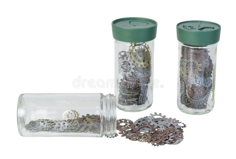Several Jars full of Gears royalty free stock photos