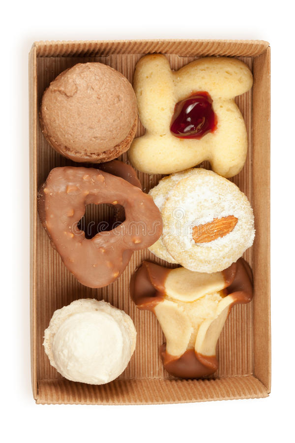 Several Kinds Of Cookies And Cakes In Open Box Stock Image
