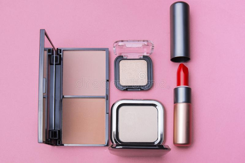 Several kinds of cosmetics still life in the studio. For beauty women and beauty life, fashion makeup, women`s products stock photos